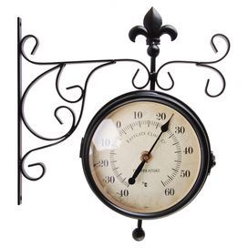 This stunning collection channels Victorian design influences and features both a clock and thermometer. Mount separately in your kitchen to create a functional style or in-situ for a bold focal point in your study.    Product: Clock and thermometer setConstruction Material: MetalColour: Brown and cream Features:  Double faced outdoor clockIndicates temperatures between -50°C - 50°C  Dimensions: 40 cm H x 50 cm W x 20 cm D