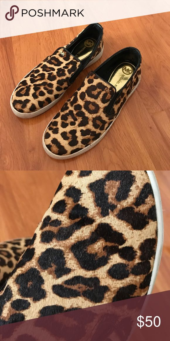 Michael Kors leopard print slip on sneakers Barely worn- tried to show the hair on the shoes in the 2nd photo. Michael Kors Shoes Sneakers