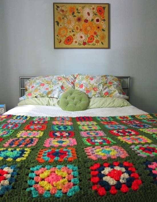 green granny square blanket in lisa from lala house guest posted on my girl