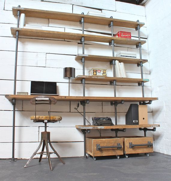 Reclaimed Scaffolding Boards and Dark Steel Pipe Industrial Desk and Shelving with Storage Boxes on Castors - Its industrial design works perfectly