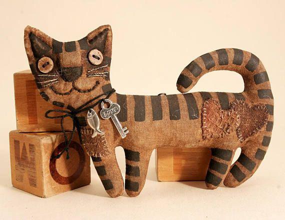 Кошка примитивная Кукла народного искусства примитивный Хэллоуин кошка декор Китти любителей кошек висячие украшения Кот Арт Рисунок