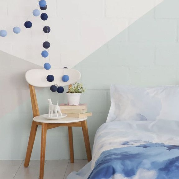 Shades of Blue LED Battery Cotton Ball String Lights, ideal for small bedroom bedside lamp. Cosy up and settle in