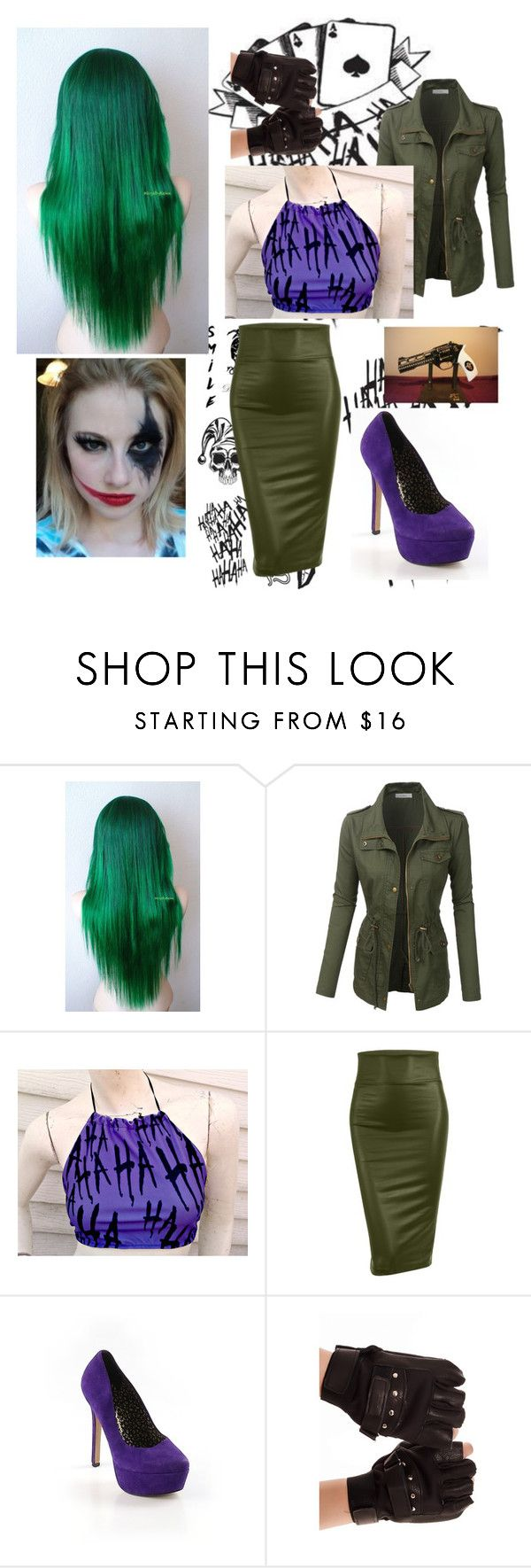 """Genderbend Joker Costume"" by imfangirlingtoohard ❤ liked on Polyvore featuring LE3NO and Jessica Simpson"