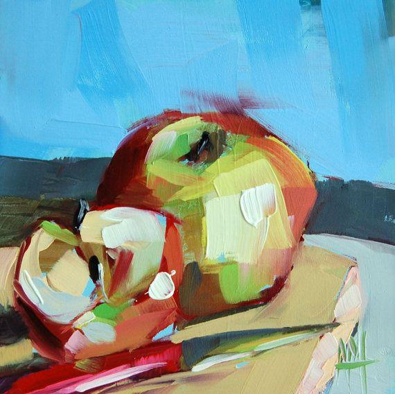 Apples no. 10 original still life fruit oil painting by Angela Moulton 6 x 6 inch on panel prattcreekart