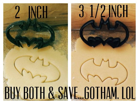 2 Batman cookie cutters 2 inches & 3.5 inches by BoeTech on Etsy, $9.75