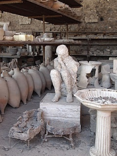 Pompeii - this is actually a cast of the void left by a person who was unfortunately in the wrong place at the wrong time when Mt. Vesuvius erupted that fateful day... Horrifying, and I cannot imagine the terror.