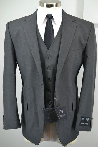 New Frenzi Uomo Mens Charcoal Grey 3 Piece Suit Blazer Vest Pants 38R 50R | eBay
