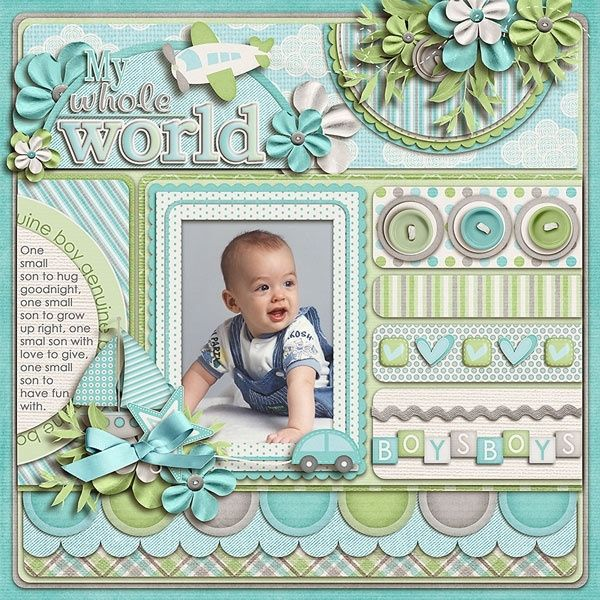 nice scrapbook page for a boy or girl scrapbook page layout baby album by caroline