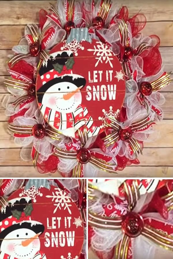 Diy Dollar Store Christmas Snowman Wreath Step By Step Video Tutorial Dollar Store Christmas Decorations Christmas Wreaths Diy Dollar Store Christmas