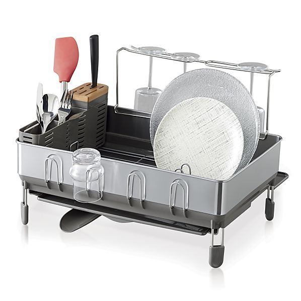 "simplehuman ® Dish Rack Deluxe Overall DimensionsWidth: 20"" Depth: 21.75"" Height: 14.25"""