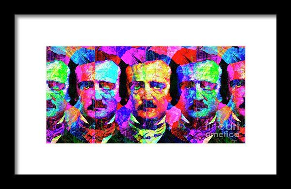 Once Upon A Midnight Dreary 20140118 Long Framed Print by Wingsdomain Art and Photography  wingsdomain celebrity celebrities edgar allan alan allen poe edgar allan poe edgar allen poe edgar alan poe nevermore sweet lenore poetry poet poets poem poems writer writers