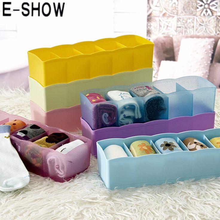 E-SHOW 5 Cells Plastic Lattice Underwear Socks Accessories Storage Box - Purple #Affiliate
