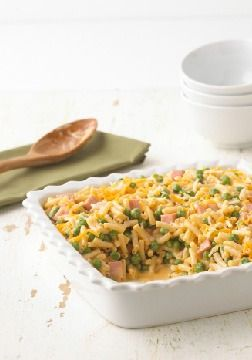 Cheddar Mac & Ham Casserole – Ham and peas mix it up with mac and cheese in a baked casserole topped with melty Cheddar. No one will be dragging their heels on the way to the dinner table tonight!