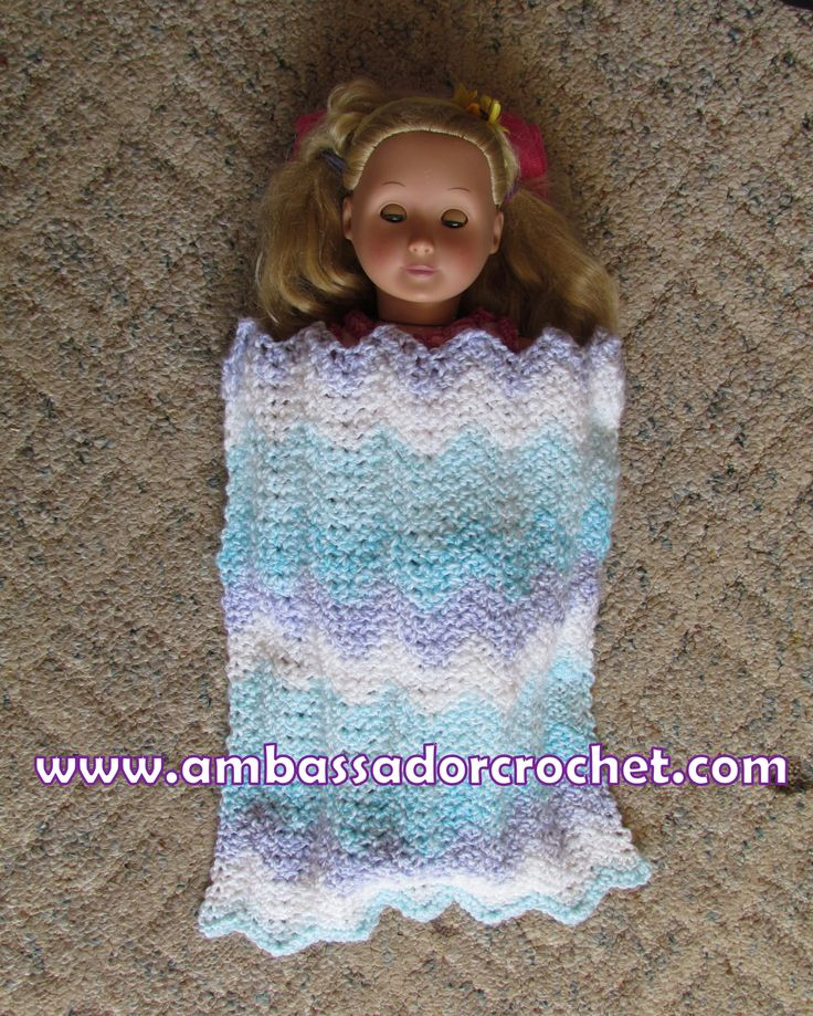 Fre  ripple doll blanket crochet pattern for 18″ doll. Works up fast and easy. #…