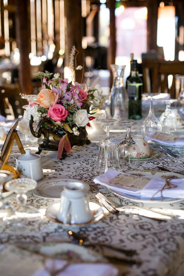 Vintage Wedding Reception Lace Tablecloth Antique Pots