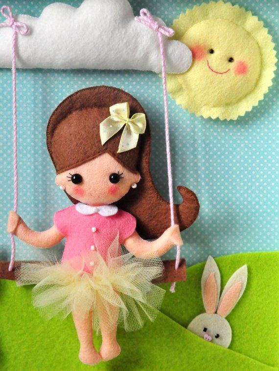 Felt doll . Baby Decorative Frame Child Frame Decoration with girl by TiTics