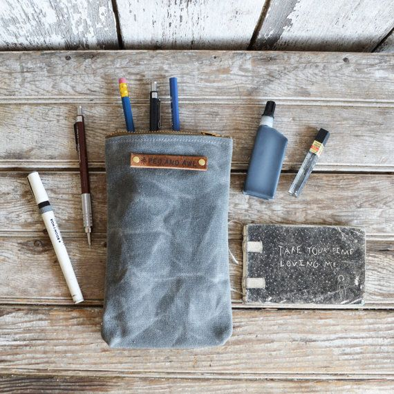 The Scribbler. The perfect case for a writer, a drawer or scribbler. Great for pens and pencils and even a little journal. Made from waxed canvas