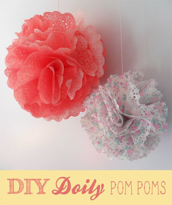 DIY doily pom pom (supposed to be quicker than tissue paper)