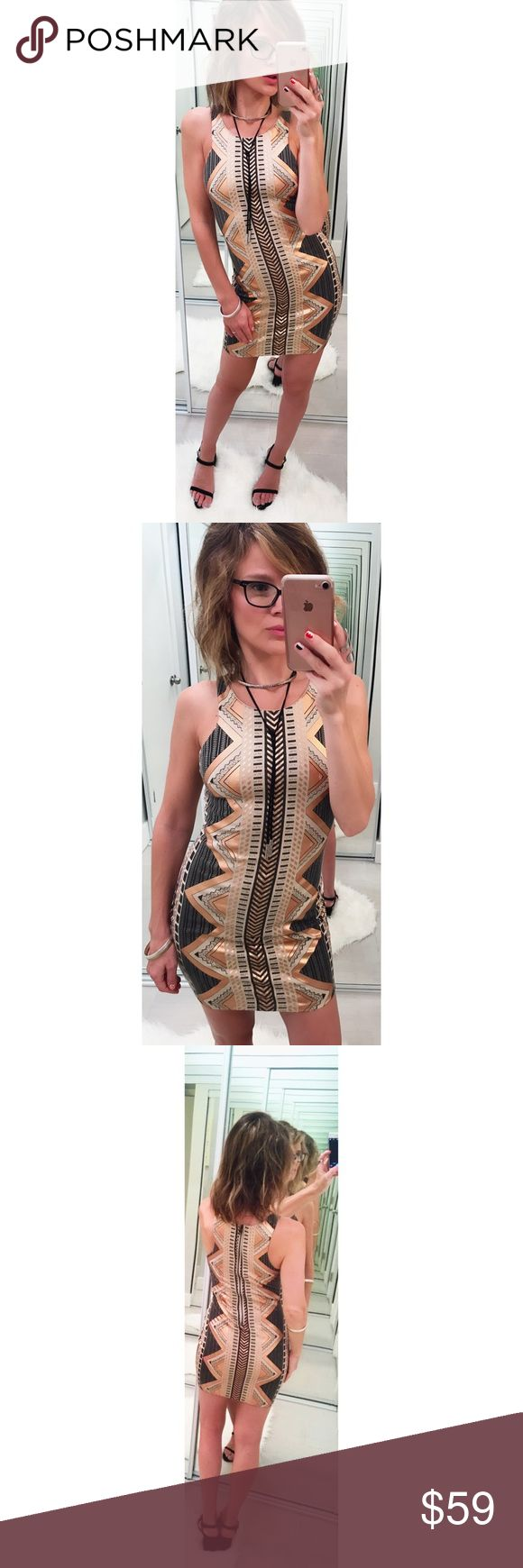 ➡Reverse High Neck Aztec Body-Conscious Dress⬅ A body conscious mini dress that looks like you're wearing metallic tattoos. It matches perfectly with jewelry and a summer tan.  🛍Shop your way: 💕Offers welcome. 💕Take 20% off bundles automatically. 💕 Make an offer on your bundle. 💕Receive special offers from me on your bundles.  💕 Happy Poshing! Reverse Dresses Mini