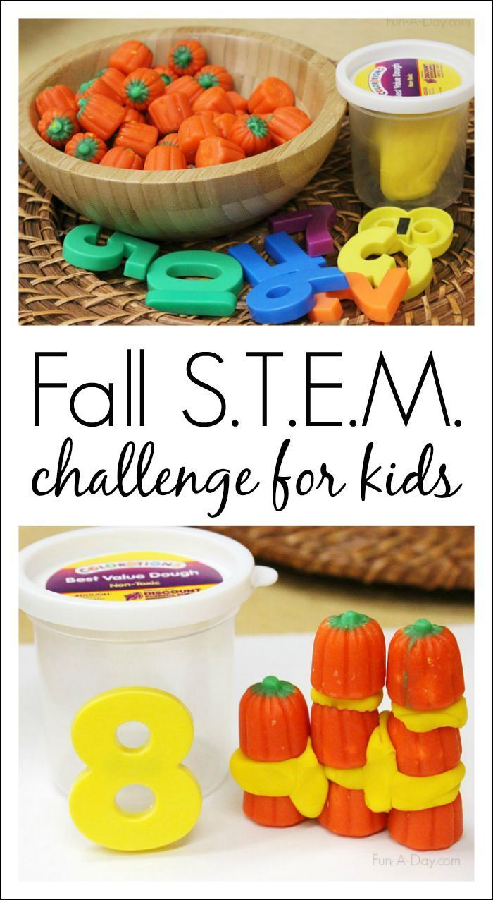 Fall S.T.E.M. Challenge for Kids. Build pumpkin towers! Fun engineering project.