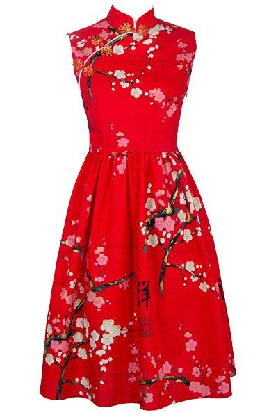 Retro Style Sleeveless Mandarin Collar Wintersweet Print Prom Dress For Women
