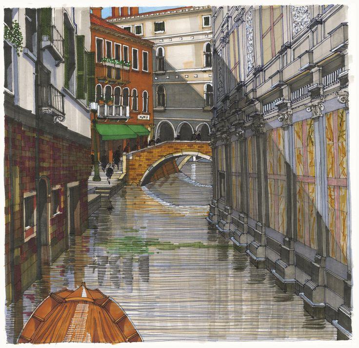 Rio dei Miracoli, Venice. #Venice #Canal #Architecture #Art #Drawing #Prints