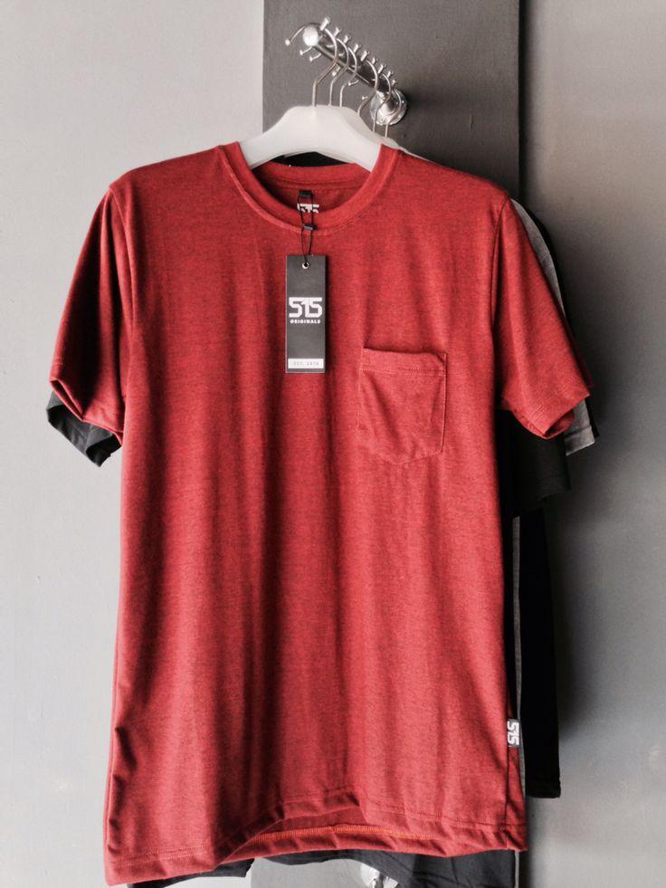 T-Shirt Plain Placket Dark Red