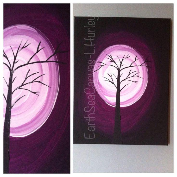 tree,moon,purple,canvas Canvas Art By Lindsay Hurley www.earthseadesigns.webs.com/ www.facebook.com/earthseadesigns