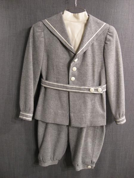 1900s Boy's Grey Wool Sailor Suit with cream wool dickey.