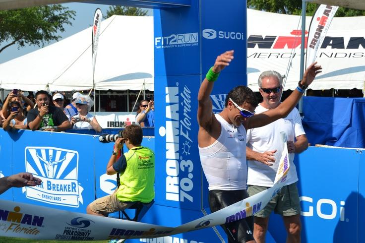 Ironman 70.3 Florida, Terenzo Bozzone crosses the finish line, Haines City, Polk County, Central Florida #IM703FLORIDA