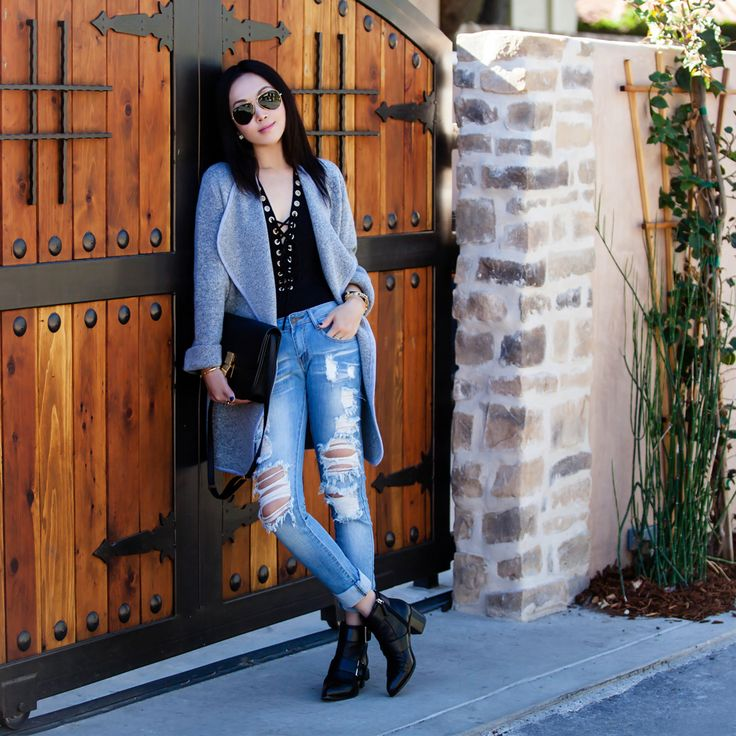 2020 AVE Lace-Up Rayon Bodysuit, 2020 AVE Super Destroyed Boyfriend Jeans, CHICWISH Just Knitted Open Coat in Grey, fall style, thanksgiving style, thanksgiving, casual style, Celine box bag, Ray-Ban original aviator sunglasses