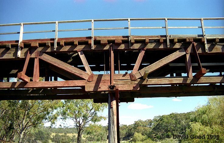 For fans of bridges and engineering; A photograph depicting the bridge member arrangement on one of the Great Northern Railway's Queen post truss bridges. This bridge being at Yarraford, between Glen Innes and Deepwater.