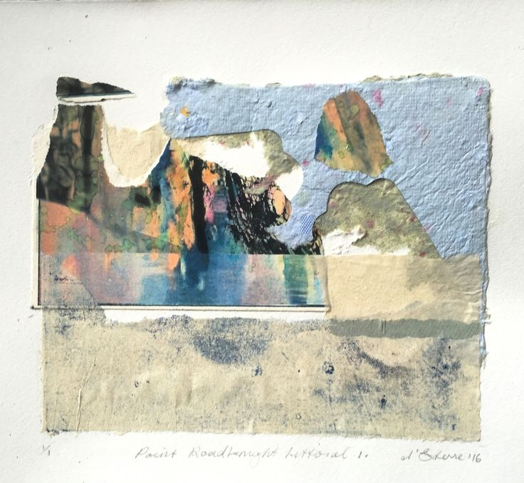 ELAINE d'ESTERRE - Point Roadknight Littoral 1, 2016, collage, 30x40 cm. Also at http://elainedesterreart.com/ and http://www.facebook.com/elainedesterreart/ and http://instagram.com/desterreart/