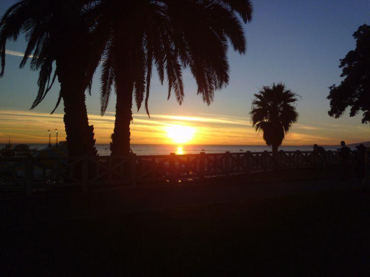 Sunset on Santa Monica beach LA