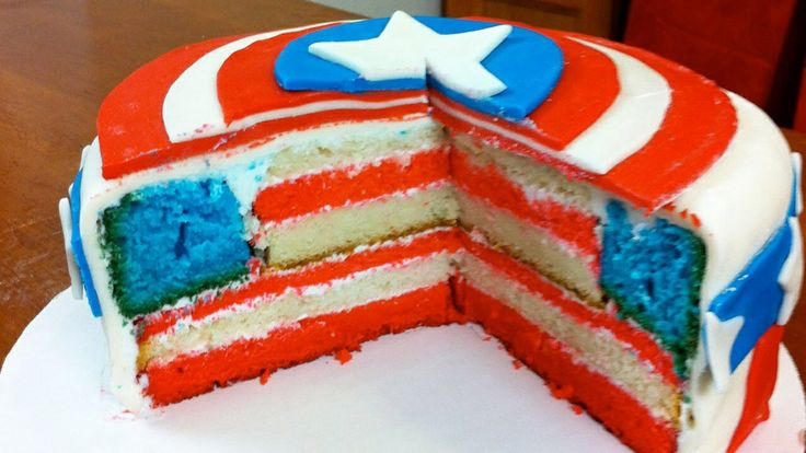 Captin America cake with flag filling