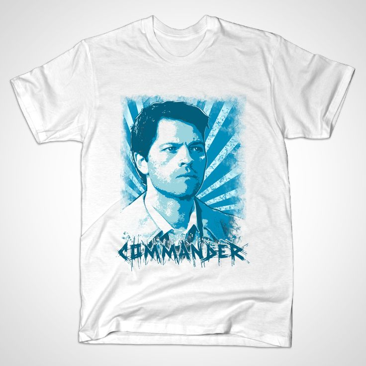 """I'm the one who gripped you tight and raised you from perdition."" White shirt variant of this Castiel Portrait. I always got a laugh whenever someone called Cas ""Commander"", so I did a variation on this design... There are other versions of this shirt, check out the ""Castiel 2014"" and also the plain ""Portrait"" version without the text, available in both white and Teal blue.Tags castiel, misha collins, supernatural, sam and dean, winchesters, winchester, jensen ackles, jared padalecki, spn"