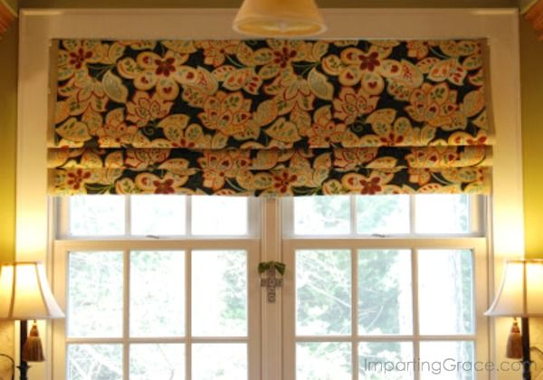 Imparting Grace: Faux Roman shade tutorial using tension rods.
