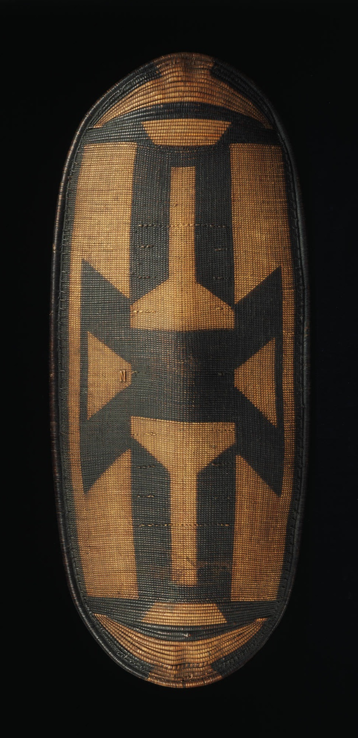 Africa | Zande or a closely related group, DR of Congo | Shield | 20th century  | Wood, woven vegetable fiber