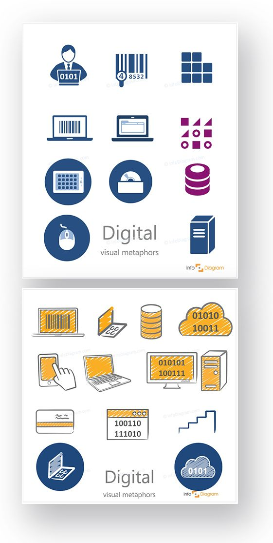 Simple and Hand Drawn Digital Icons - Flat and Scribble icons. Laptop, pc, it guy, touchscreen, credit card, cloud drive, data, massive data, mouse, database, application, binary code, computing technology, IT services. Editable infographics images.