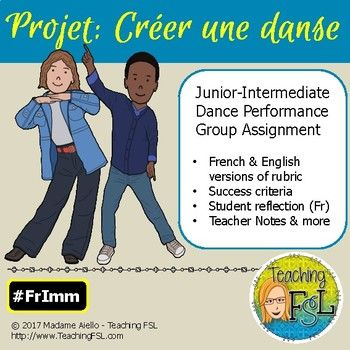 This package provides junior-intermediate French immersion Dance teachers with everything they need (aside from music - suggestions available on my blog) to have students plan and perform an original group dance presentation, demonstrating what they know about the elements of dance.