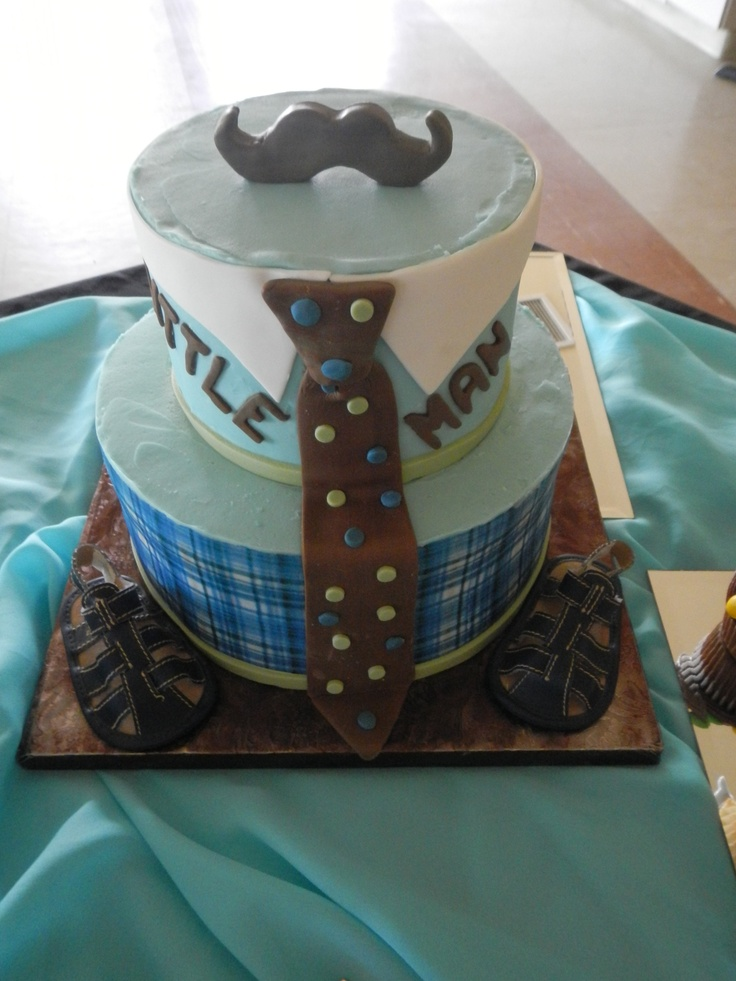 man baby shower cake with mustache plaid and a tie little man baby