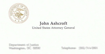 John Ashcroft business card.