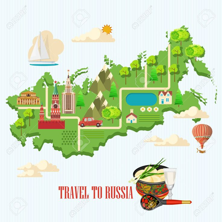 Russia Vector Poster. Russian Background With City Landmark... Royalty Free Cliparts, Vectors, And Stock Illustration. Image 56672359.