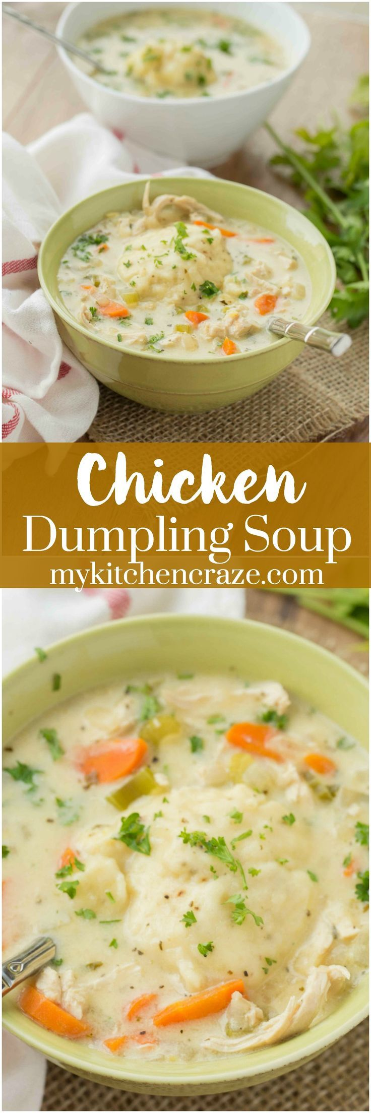 Chicken Dumpling Soup is a traditional comfort soup! Perfect for those cold, chilly days when you need something to warm you up. We don't get a ton of cold days here in Vegas, but when we do, you better believe that I'm whipping up a big bowl of soup and
