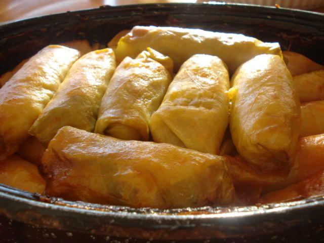 Vegan Cabbage Rolls-- nothing beats home-made cabbage rolls at a fellowship meal... they go fast!