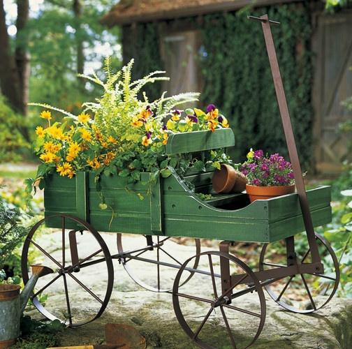 Brand New Amish Green Garden Wagon Planter Yard Decor
