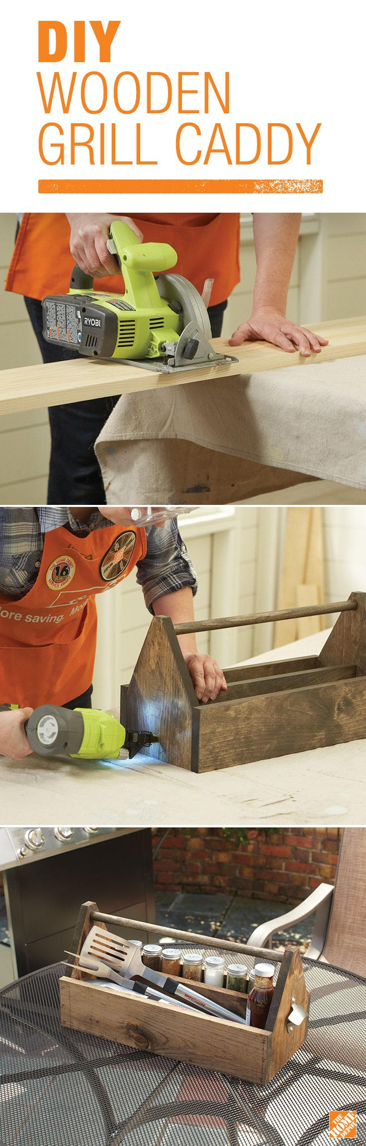 Learn how to build a DIY wooden grill caddy for all of your grilling tools and seasonings with some simple know-how and a few tools. For this project, you'll need a circular saw, brad nailer, and paint or wood stain for personalization. Click through for the steps to make your own carrier.