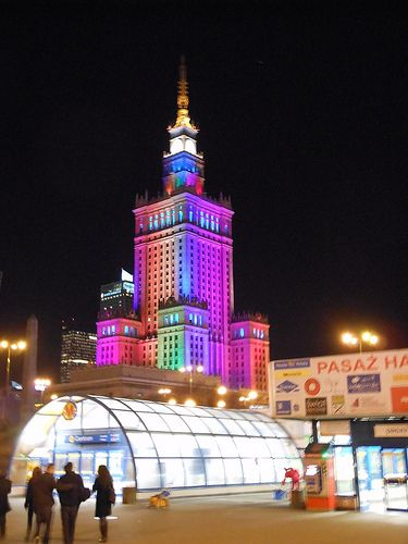 Palace of Culture and Science by night. Warsaw, Poland. 9-28-2013