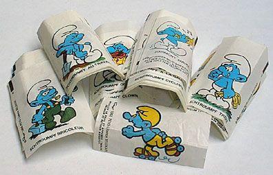 Smurfenplaatjes bij kauwgum, jaren 80 snoep