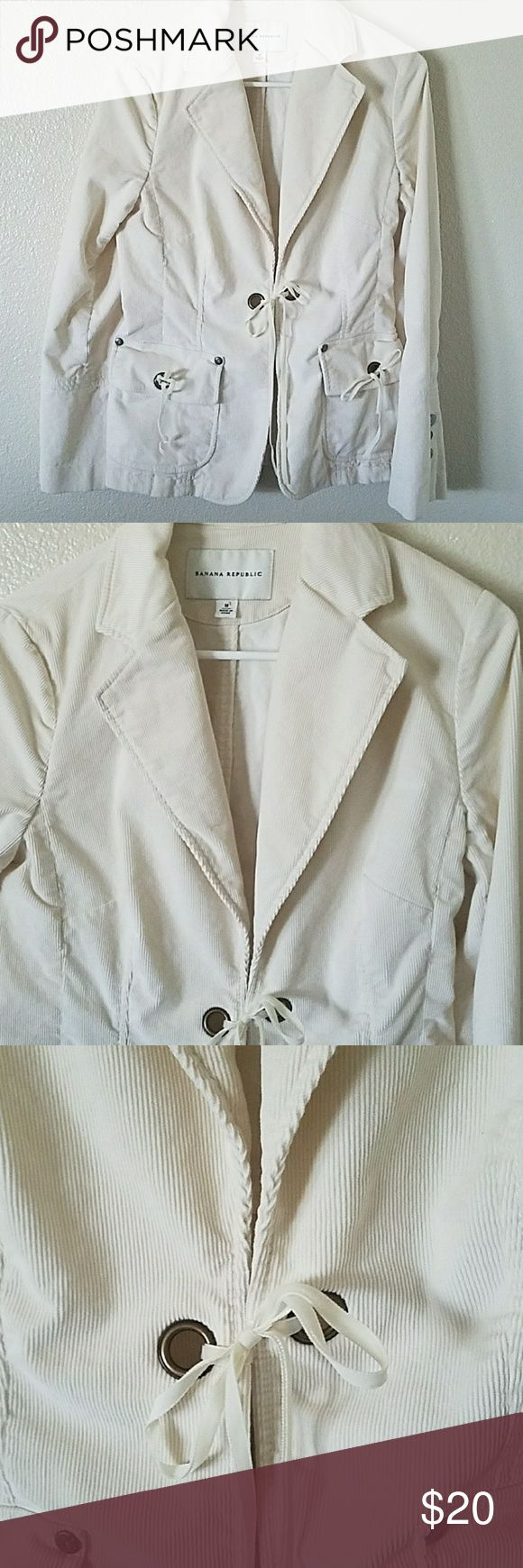 Banana Republic  blazer/jacket size M Banana Republic corduroy blazer/jacket in bone color size medium. Excellent condition, metal buttons on sleeves and grommets. Banana Republic Jackets & Coats
